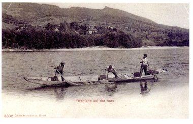 Postkarte; Aare bei Biberstein